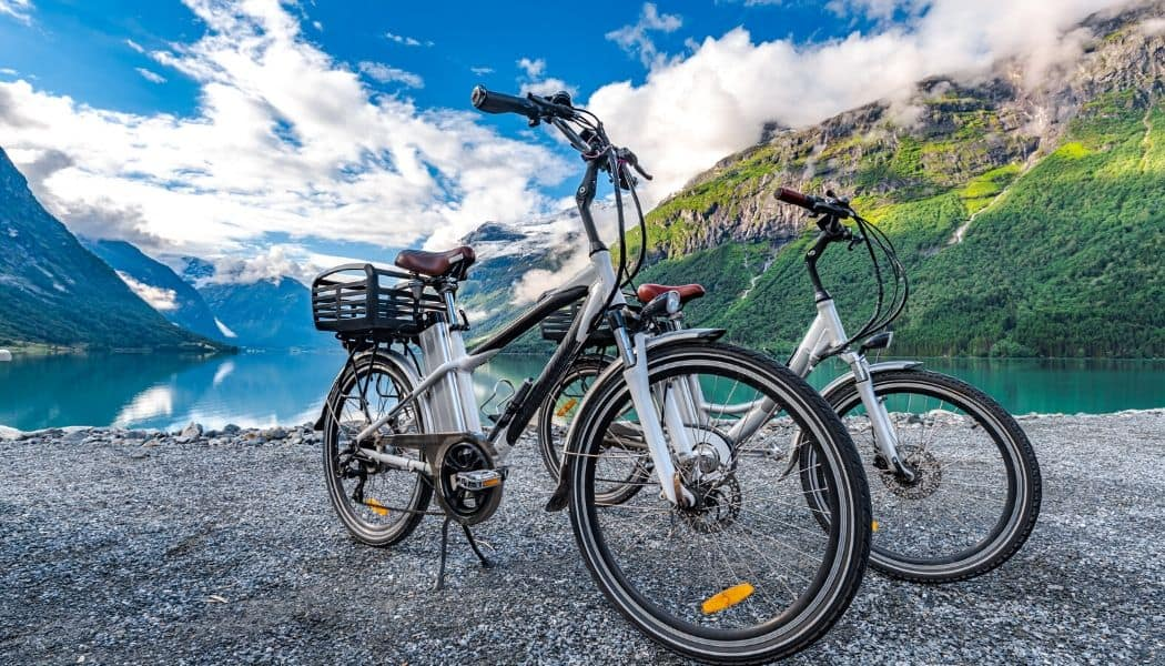 electric bikes with nature background