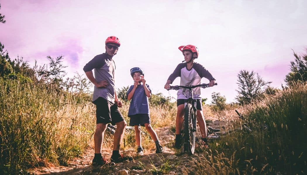 family with a beginner mountain bikes
